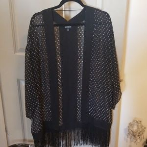 Sheer dotted pattern cape throw over